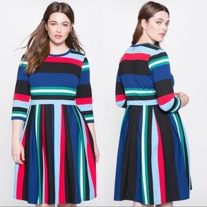 Eloquii Multicolor Opposing Stripes Stretchy Dress